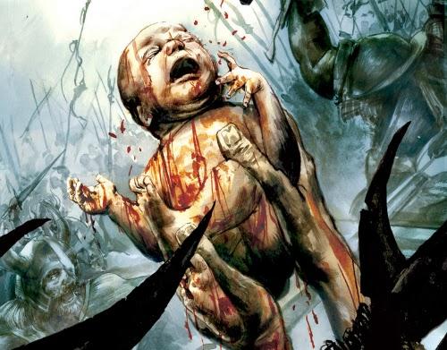 Ilustração de um bebê recém nascido, parte da história Nascido no Campo de Batalha,  da personagem Conan, criado por Robert E. Howard