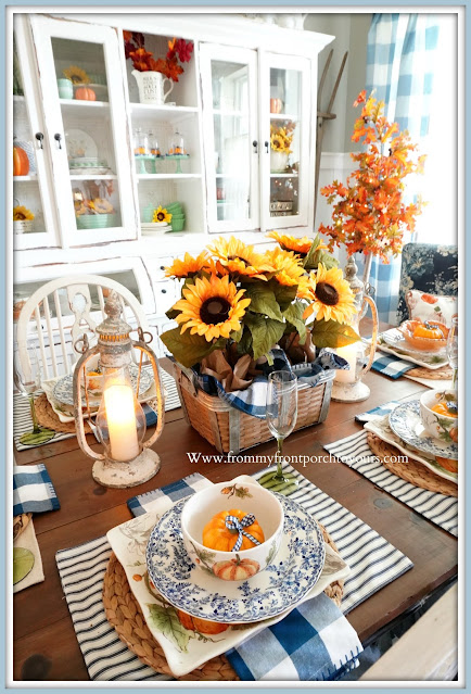 Farmhouse Cottage Style Fall Dining Room-Sunflower Centerpiece-DIY-From My Front Porch To Yours
