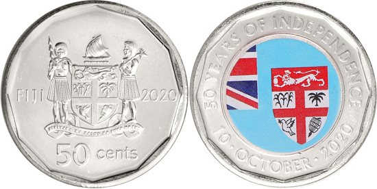 Fiji 50 cents 2020 - 50 years of independence
