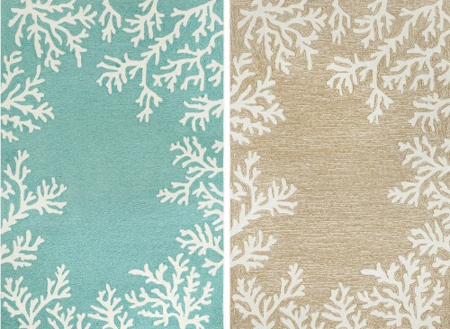 Indoor Outdoor Coral Border Rugs