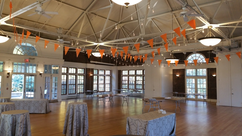 Suspended 250ft Of String Lights With Pennant Flags Bunting At The Prospect Park Picnic House