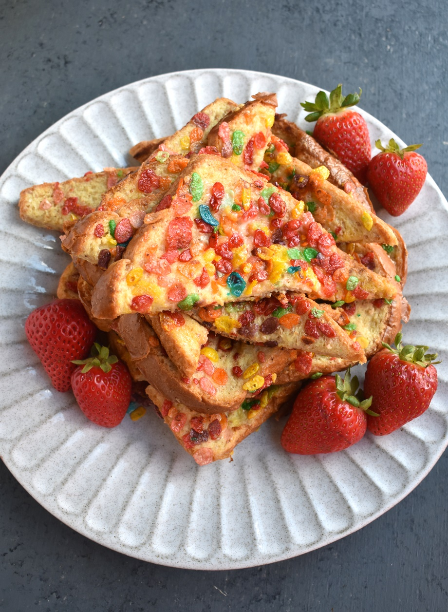 Fruity PEBBLES French Toast features gluten-free French toast crusted in Fruity PEBBLES for a fun weekend breakfast that kids will go crazy over with only 4 ingredients!