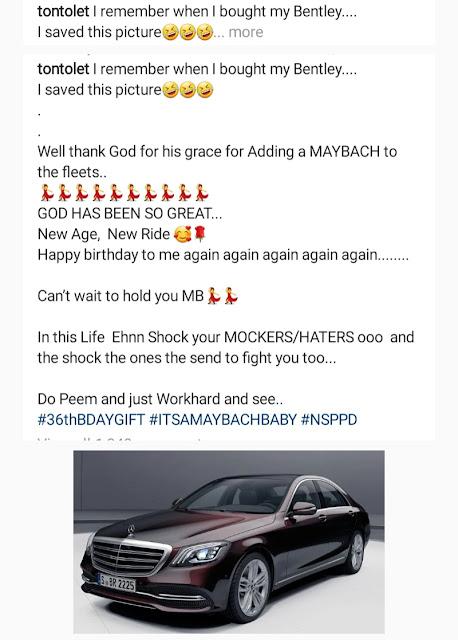Tonto Dikeh Buys a Maybach Benz To Celebrate 36