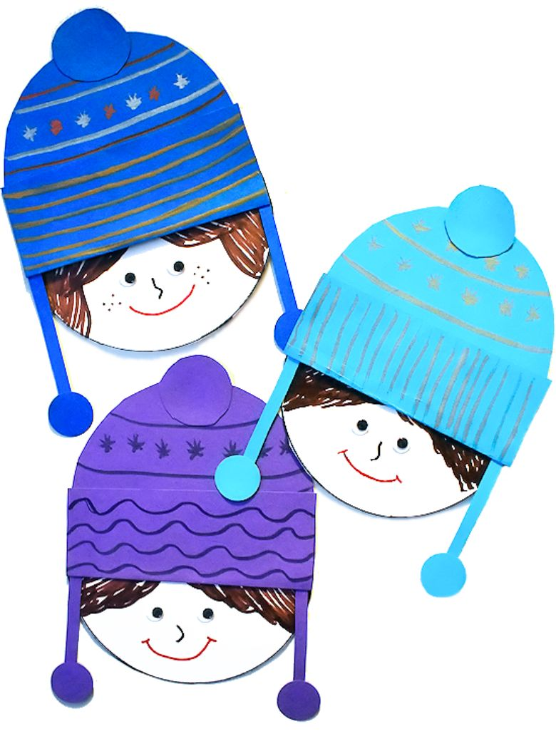 paper winter hat craft for kids