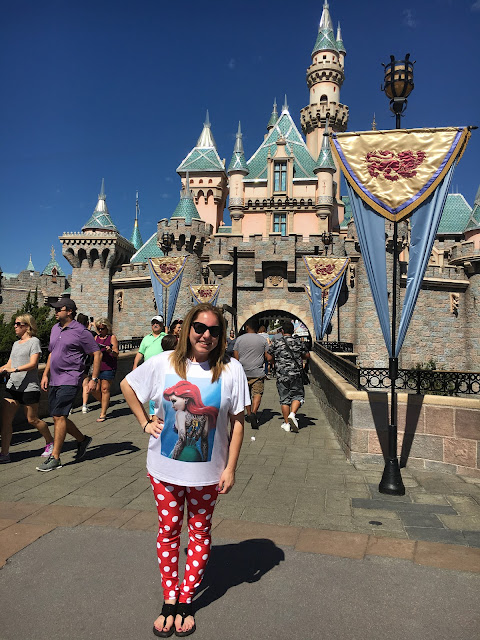 Disneyland, Sleeping Beauty Castle, Jamie Allison Sanders, Poprageous Rogue Princess Ariel Relaxed Tee, Poprageous Minnie Mouse Leggings, fashion