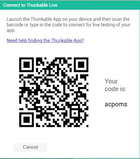 thunkable live QR code