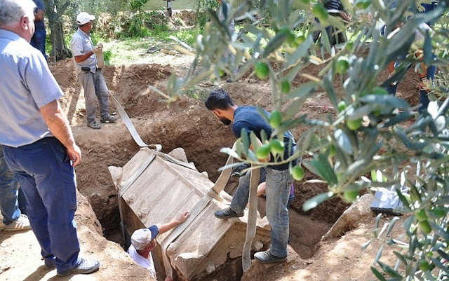Unique terracotta sarcophagus found at olive grove in Turkey's Bursa
