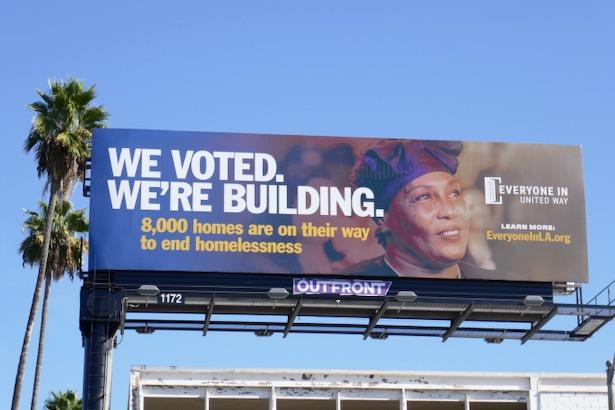 We Voted Building 8k homes end homelessness billboard