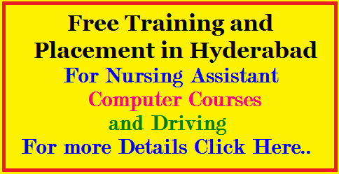 Training and Placement in Hyderabad - Nursing Assistant , Computer Courses and Driving Great news to all the job seekers in Hyderabad. Various companies are providing free training and some organizations are providing placement opportunities in multi national companies in Hyderabad. Various companies are providing free training in Car driving, Computer Courses and Nursing Assistant Courses./2017/07/-free-training-and-placement-in-hyderabad-nursing-assistant-computer-courses-driving.html