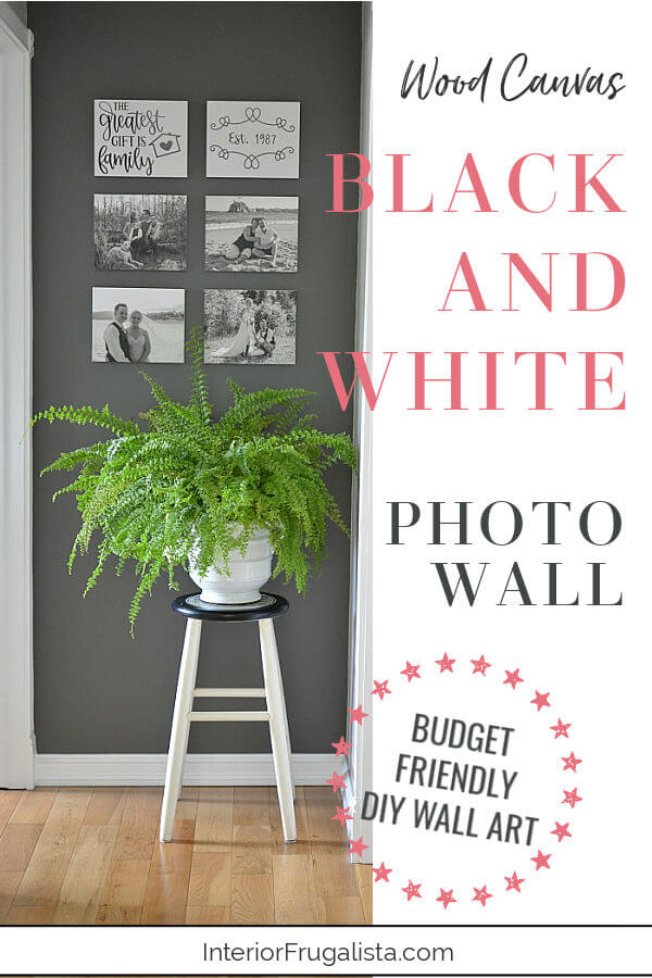 Wood Canvas Black and White Photo Wall