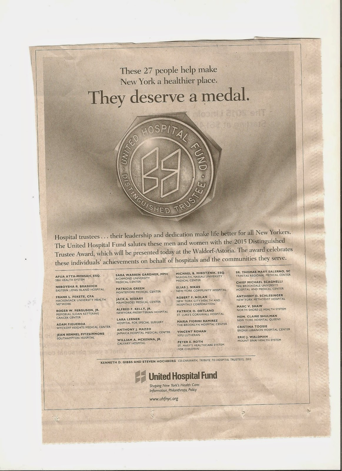 Not Running a Hospital: Do they deserve a medal?