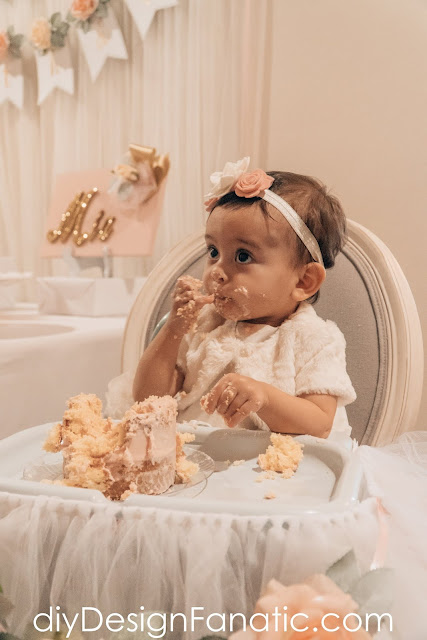 first birthday girl, first birthday, party decorations, floral first birthday, naked cake, smash cake, diy party, party banner, birthday banner, high chair tutu