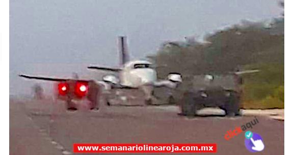 Hieren al comandante del a 34 Zona Militar y su chofer murió en un enfrentamiento contra narcotraficantes que aterrizaron una avioneta en plena carretera
