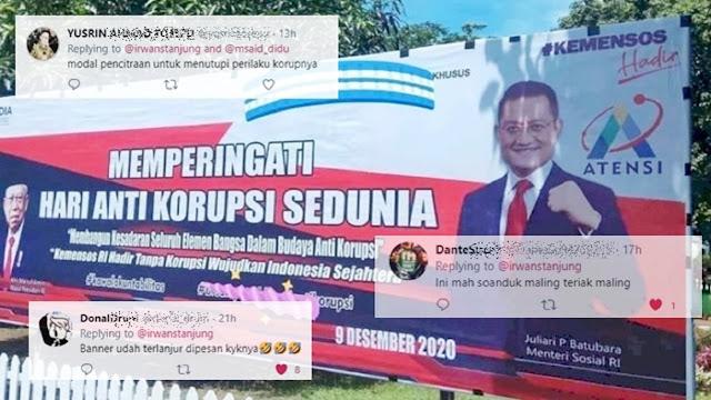 Baliho Hari Anti Korupsi Kemensos Pakai Foto Juliari, Netizen: Ini Mah Maling Teriak Maling