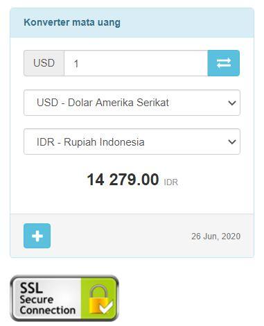 konversi & menghitung jumlah uang dolar ke rupiah
