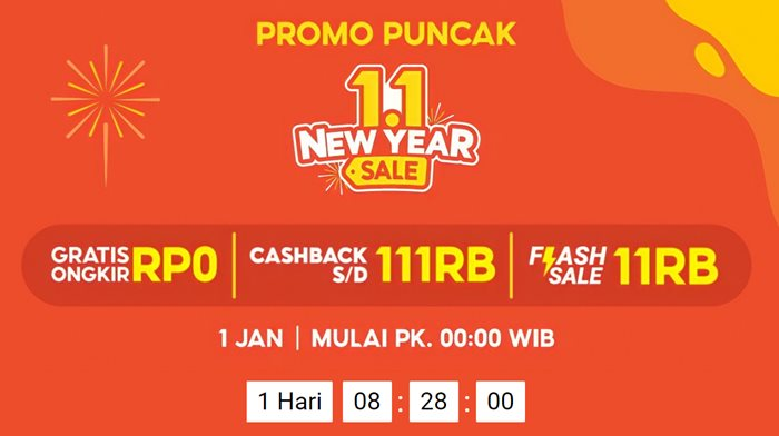 Promo Puncak 1.1 Shopee New Year Sale 2021