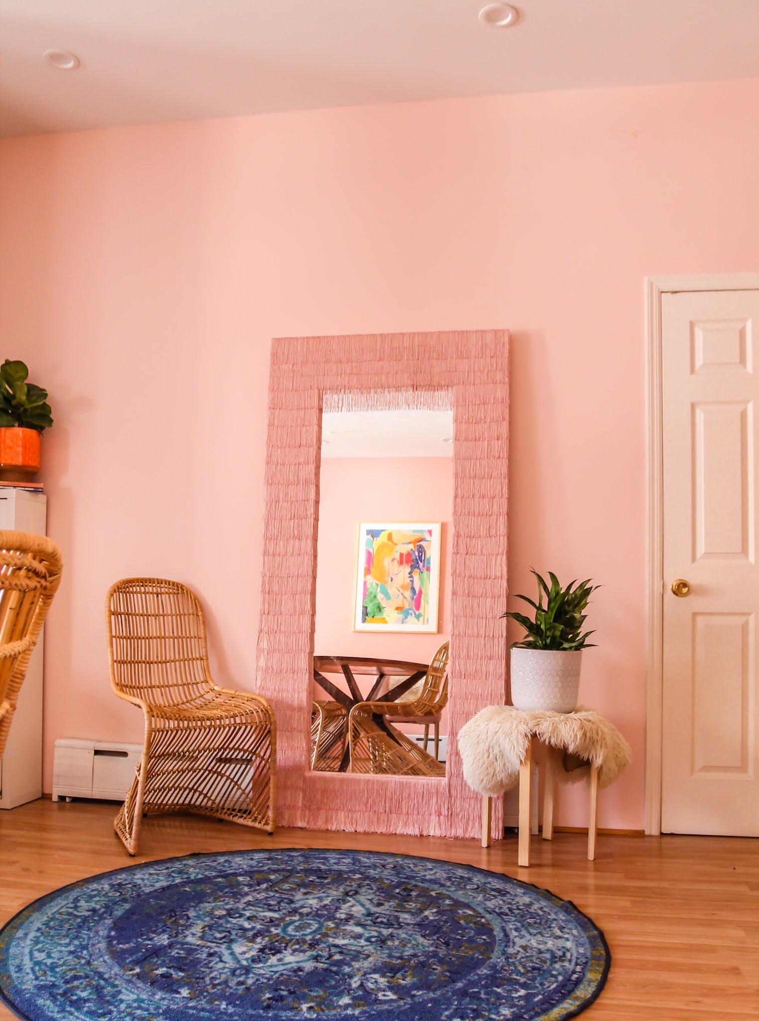 Ikea Hack // Ikea Mirror Hacks // Fringe Mirror // DIY fringe mirror // DIY floor length fringe mirror // floor length fringe mirror // pink fringe mirror // fringe diy // Megan Zietz // tfdiaries // easy ikea mirror epicycle // easy ikea mirror hack // easy ikea hacks // colorful homes // pink mirror // diy pink mirror // fringe mirror tutorial // budget friendly mirror diy // ikea mongstad mirror diy // ikea mongstad mirror hack // ikea mongstad