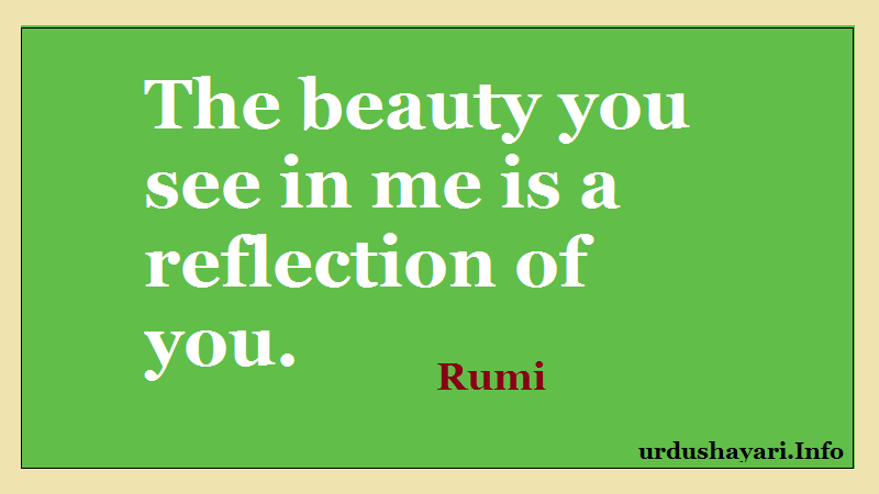 Rumi on reflection, beauty quotes, Love lines