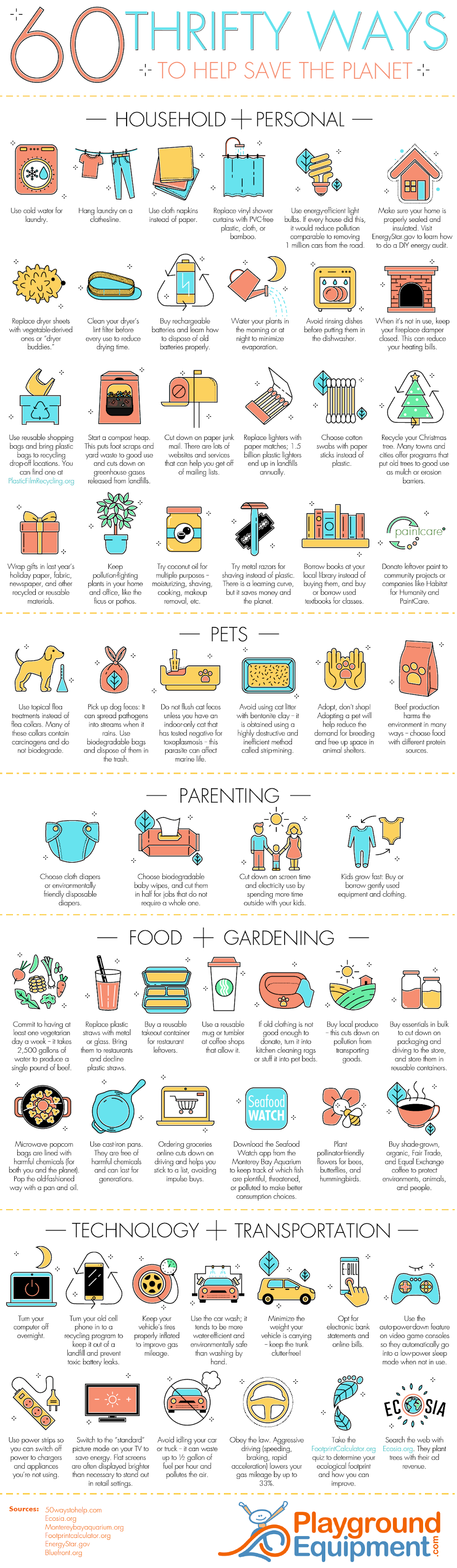 60 Thrifty Ways to Help Save the Environment #infographic