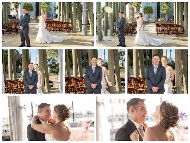 First Look Real Galveston Wedding
