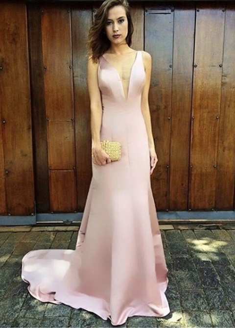 vestido de festa rosa longo sem bordado