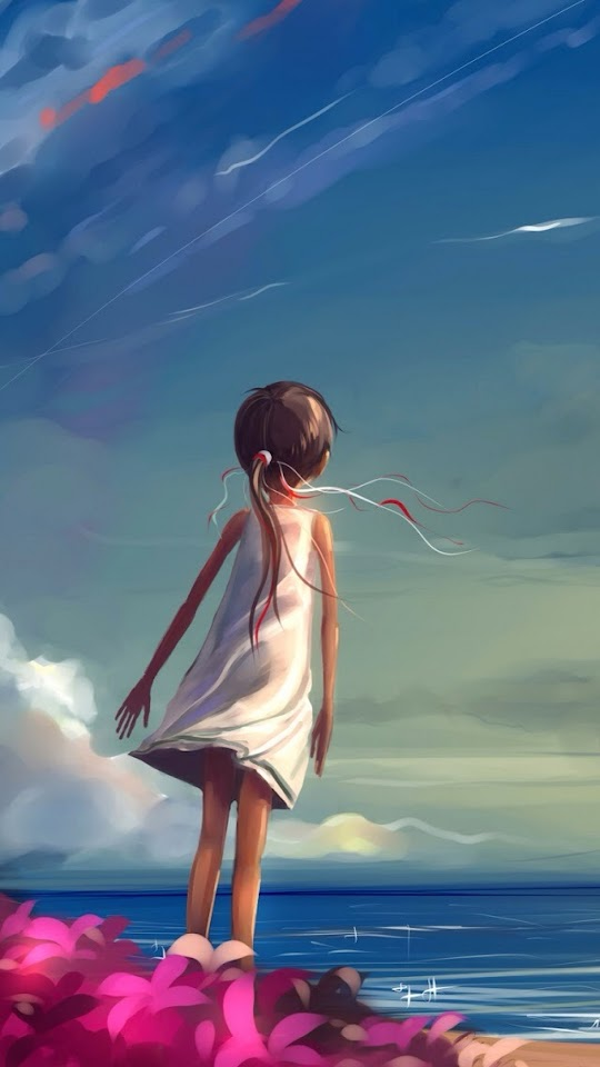Hand Painted Little Girl At The Beach   Galaxy Note HD Wallpaper