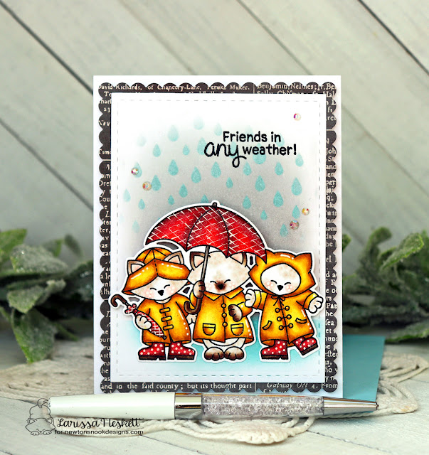 Friends in Any Weather Card by Larissa Heskett | Newton's Rainy Day Trio Stamp Set, Raindrops Stencil and Frames & Flags Die Set by Newton's Nook Designs #newtonsnook #handmade