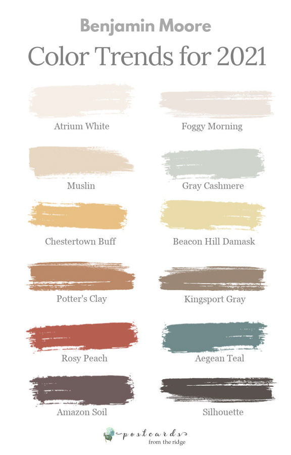 paint color swatches for Benjamin Moore 2021 color trends