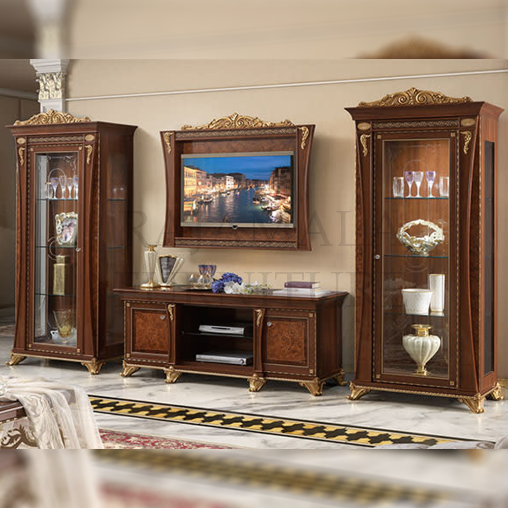 Bufet TV Jati Mewah Natural Kombinasi Luxury New Design 2021 RM-0011