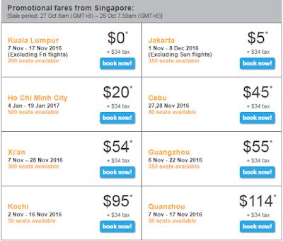 Giá vé máy bay từ Singapore bay đi ngày 27-10-2016