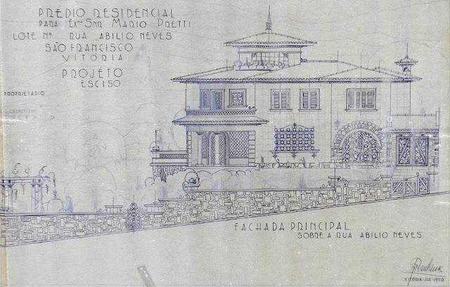 ID 364 - Projeto de prédio residencial à rua Abílio Neves, São Francisco, Centro, Vitória, proprietário Mário Pretti, julho de 1950.