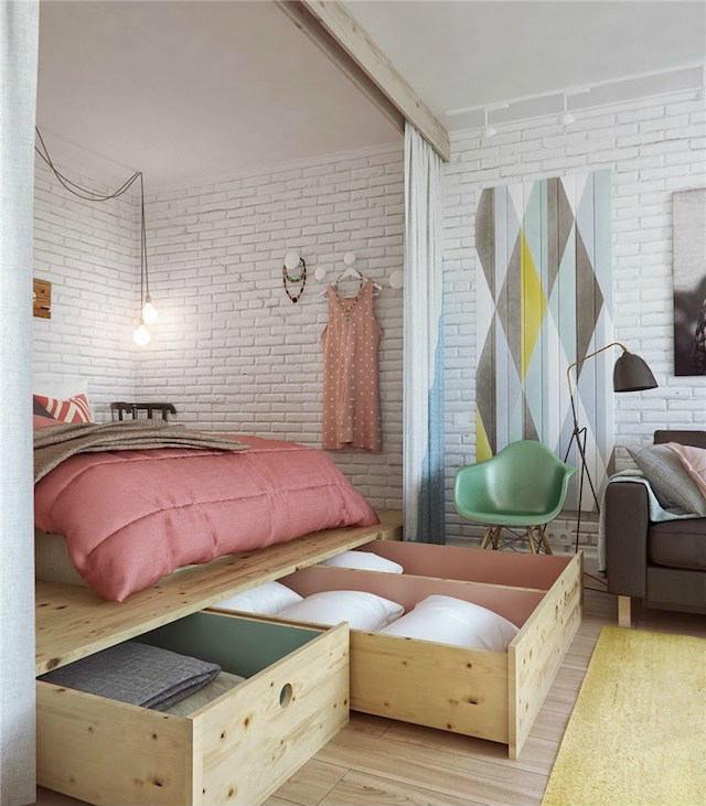 cama elevada sobre estructura de madera con cajones