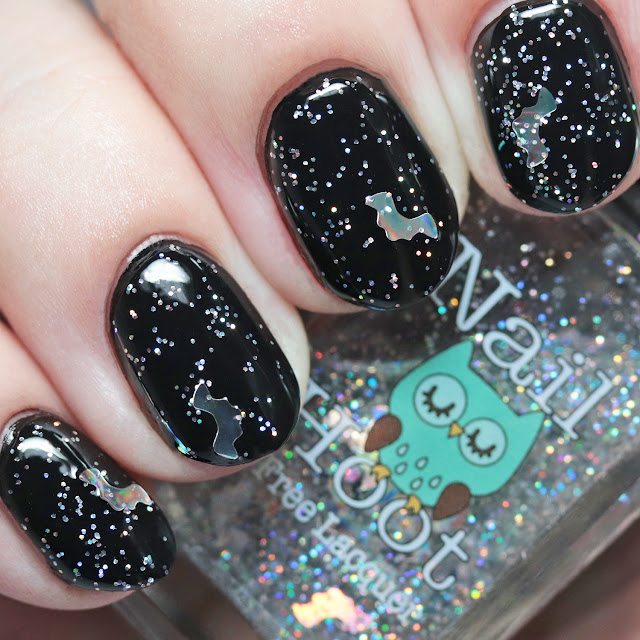 Nail Hoot Indie Lacquers Attack of the Holographic Bats over Basic Black