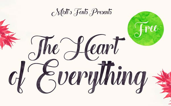 Download Gratis 10 Script Font terbaru 2016 - The Heart of Everything Beautiful Script Font