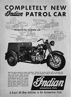 "Advertisement for ""Completely New"" Indian Patrol Car."