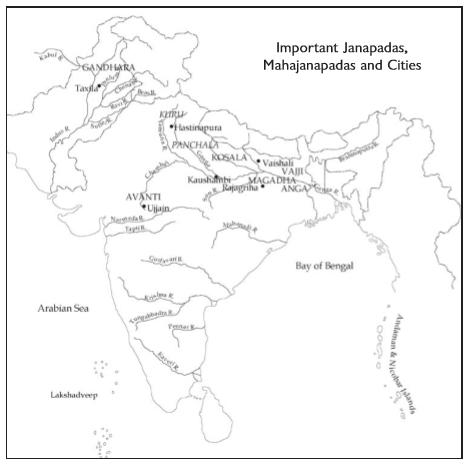 Important Janapadas, Mahajanapadas and cities