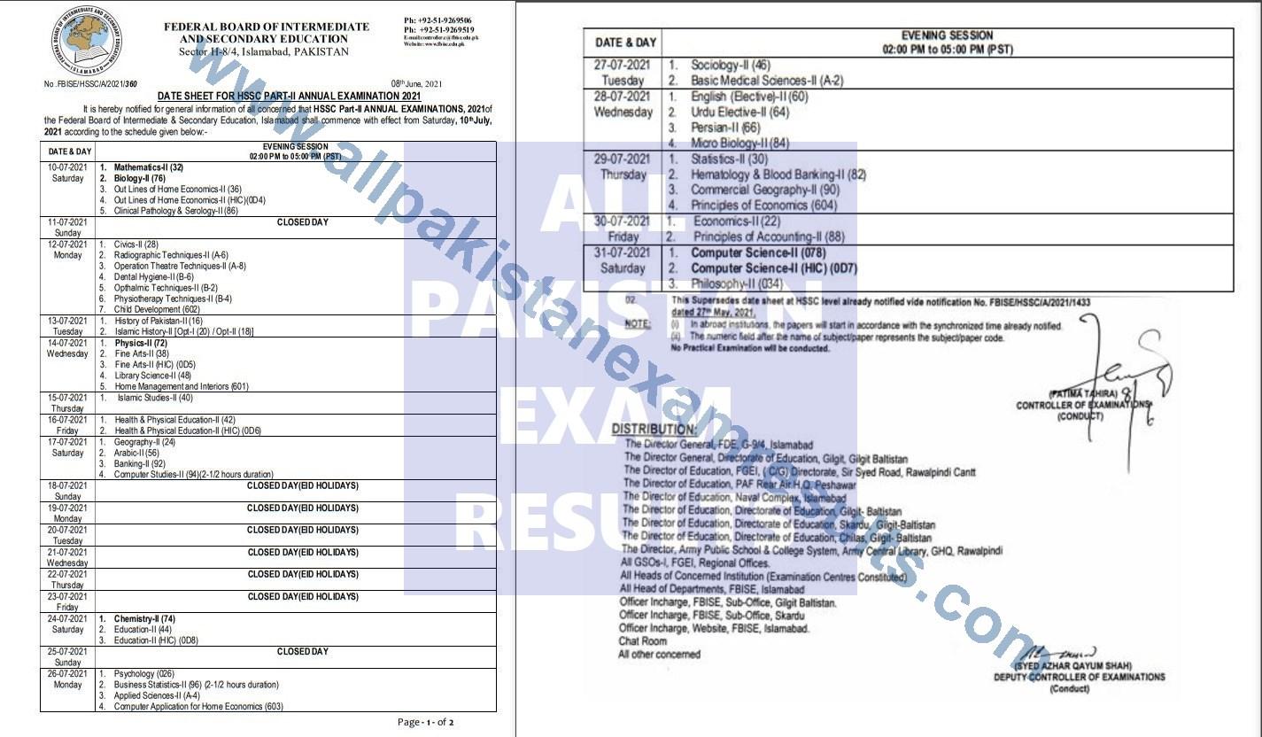 federal board date sheet 2021 inter part 2 annual exam