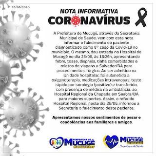 Nota de coronavírus de Mucugê