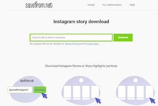 cara melihat story instagram melalui savefrom