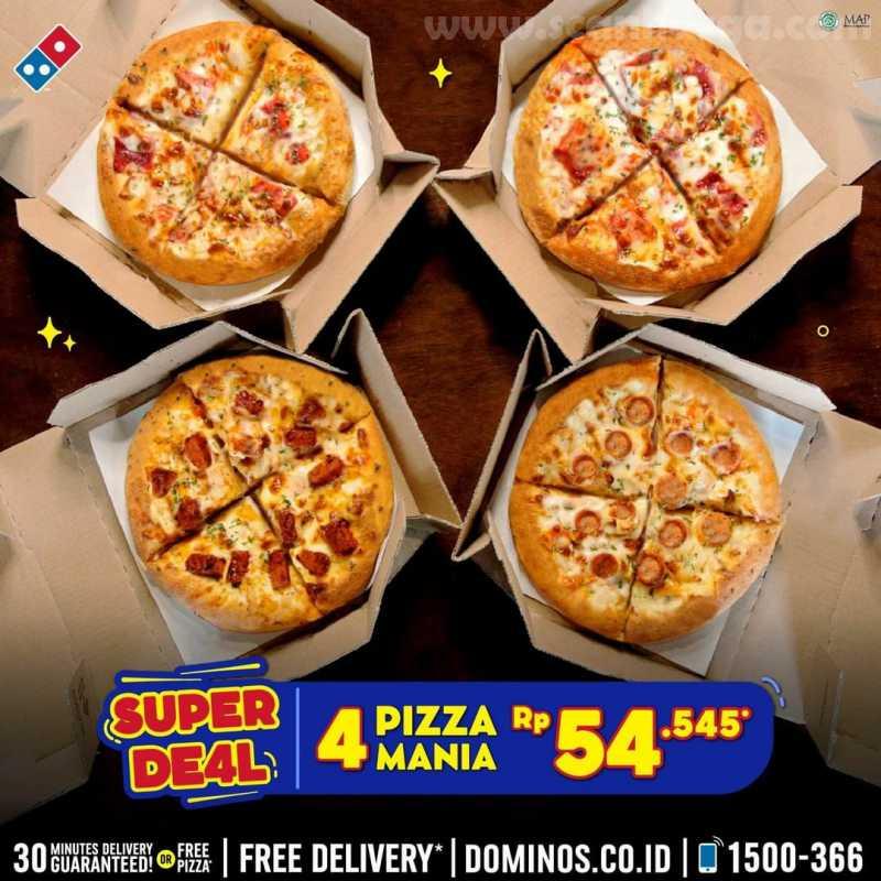 Dominos Pizza Promo 4 Pizza Mania CUMA 54rb-an