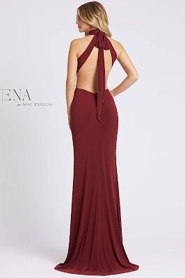 Open Back High Neck Long Ieena For Mac Guggal Evening dress Burgundy color Back side