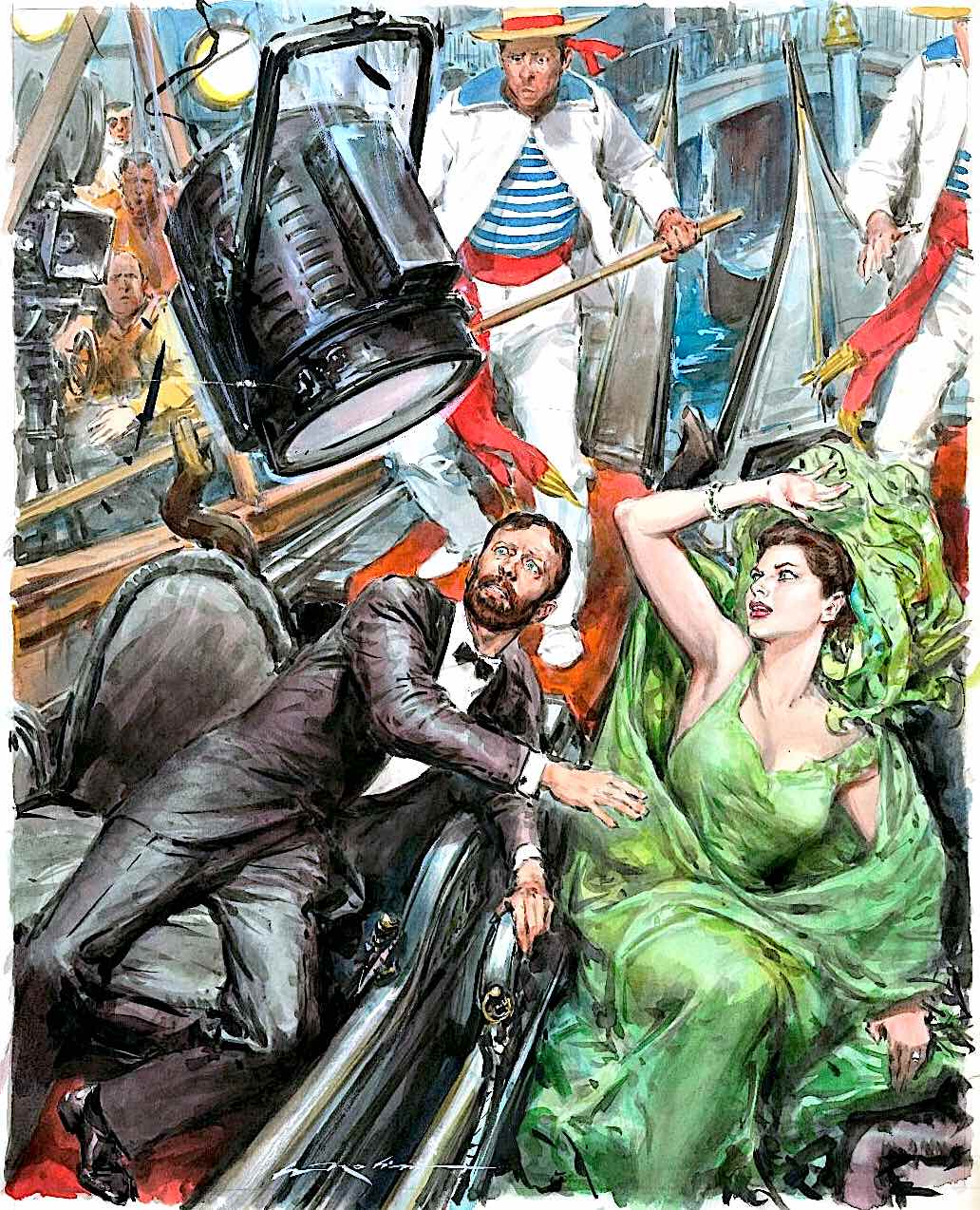Walter Molino illustration, a stage light falling onto actors
