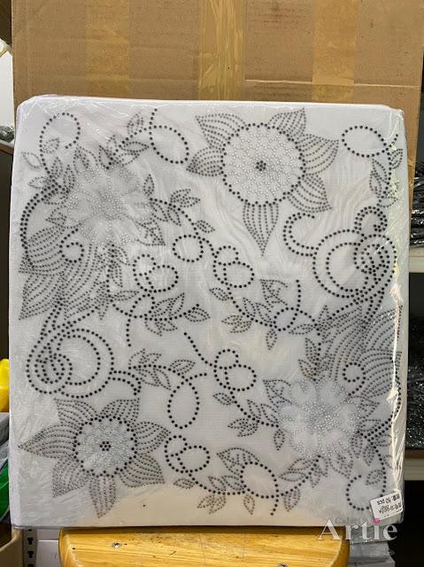 Hotfix stickers dmc rhinestone aplikasi tudung bawal fabrik pakaian 2 bunga raya silver dark silver