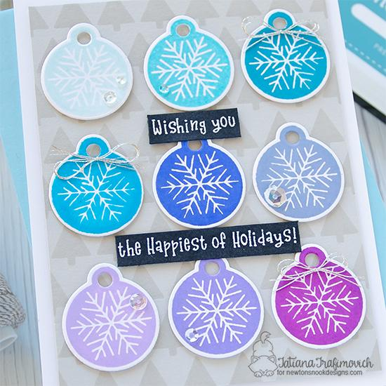 Happiest of Holiday Wishes Card by Tatiana Trafimovich | Jolly Tags Stamp Set, Tags Times Two Die Set and Tiny Trees Stencil by Newton's Nook Designs