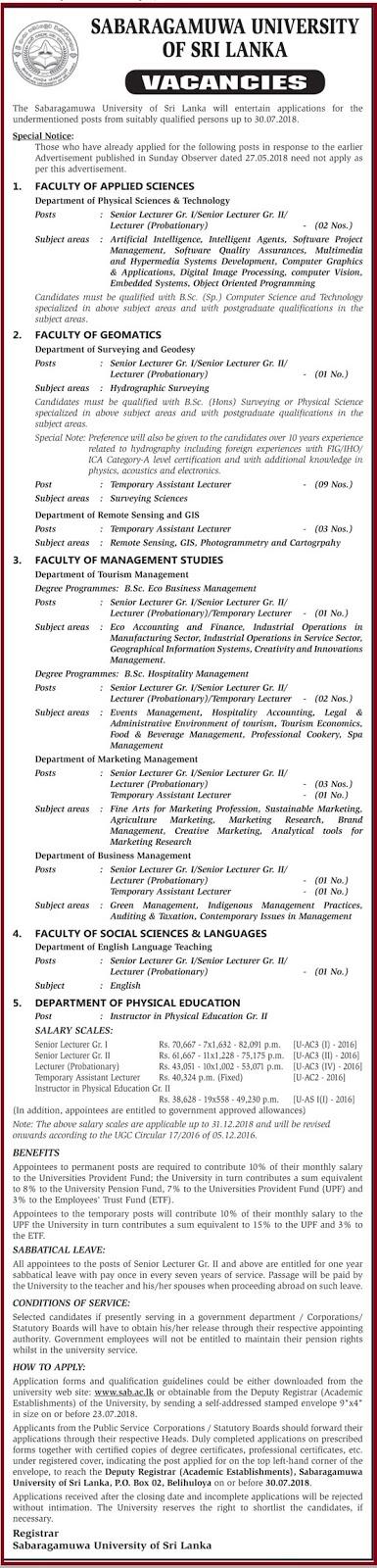 Senior Lecturer / Lecturer