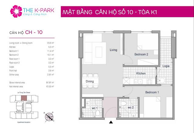 Thiết kế điển hình căn hộ 02 phòng ngủ The K-Park