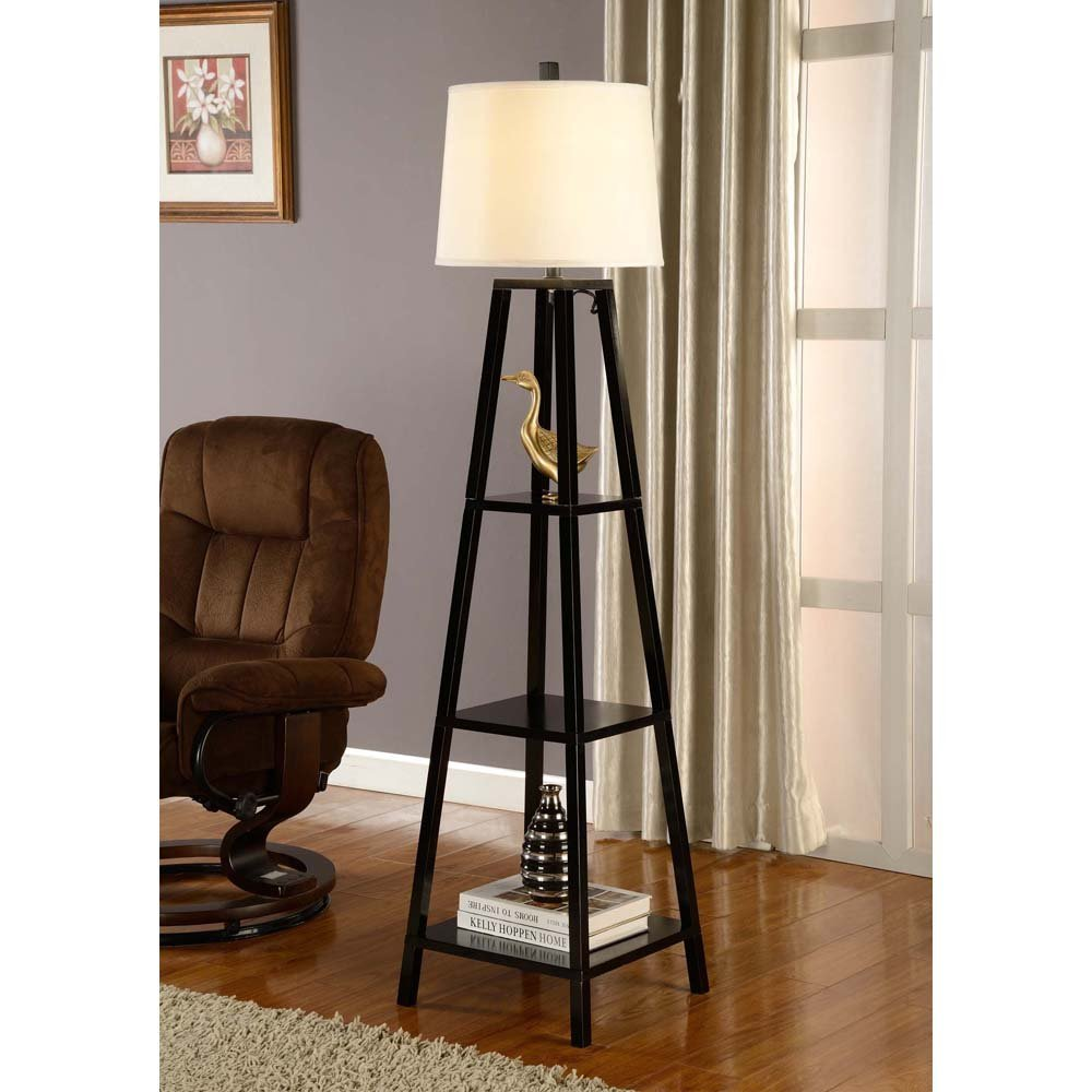 modern and contemporary floor lamps with shelves. Black Bedroom Furniture Sets. Home Design Ideas