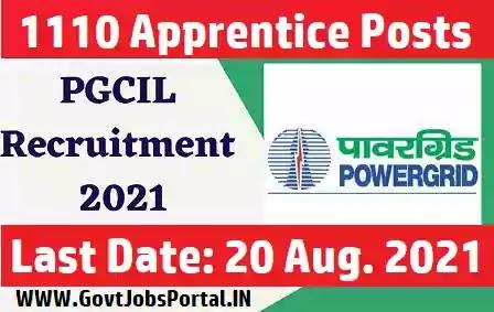 PGCIL Apprentice Recruitment 2021 - 1110 Apprentice Jobs in India (ITI, Diploma & Graduate Apprentices)
