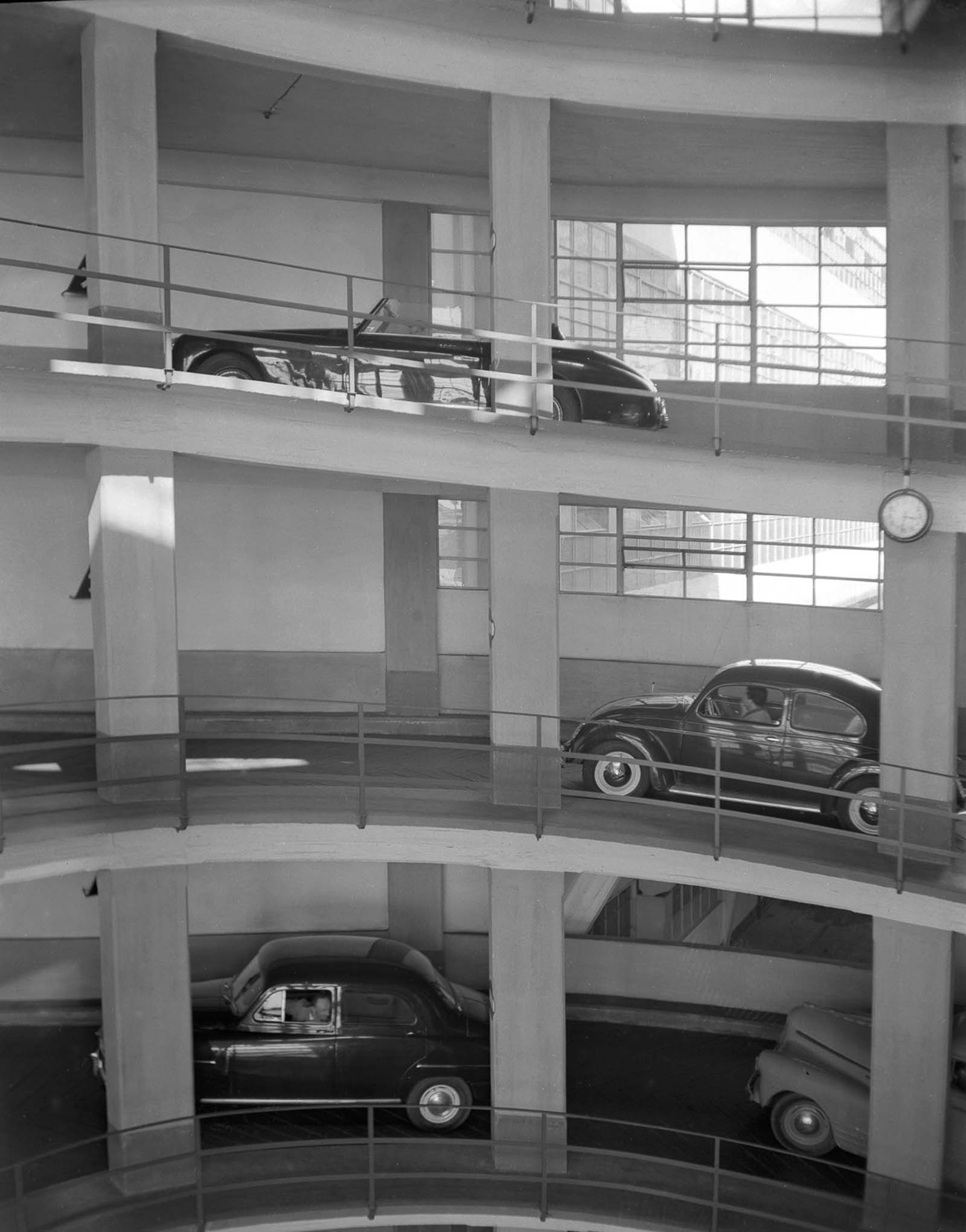 vintage photographs of early vertical parking garages