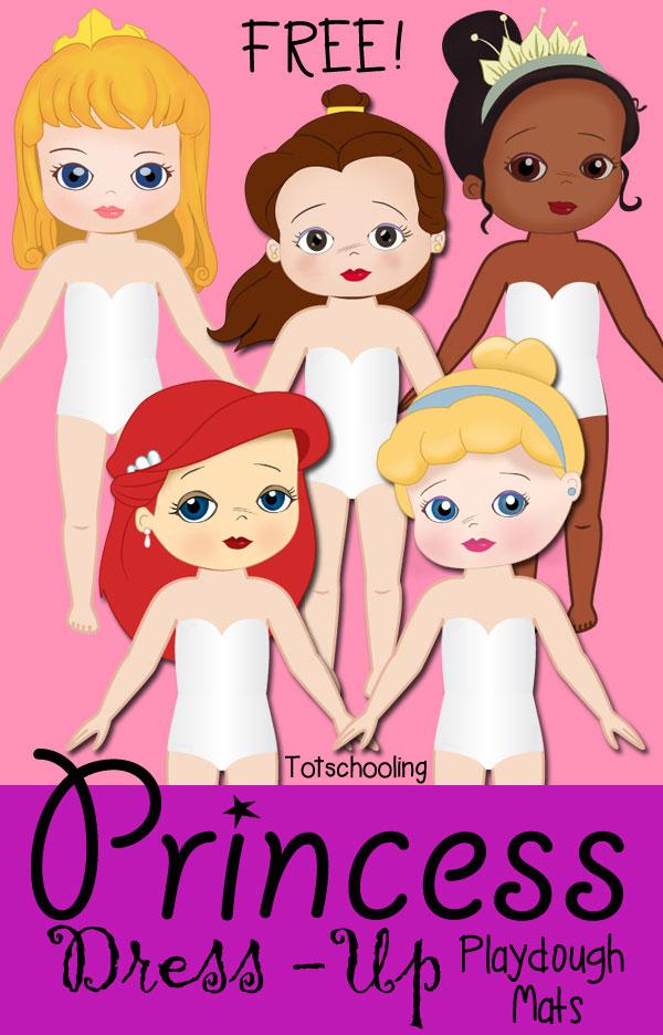 Princess Dress-Up Playdough Mats Totschooling - Toddler